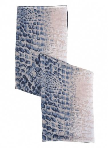 Monamoda Krokodil Desenli Şal Lacivert